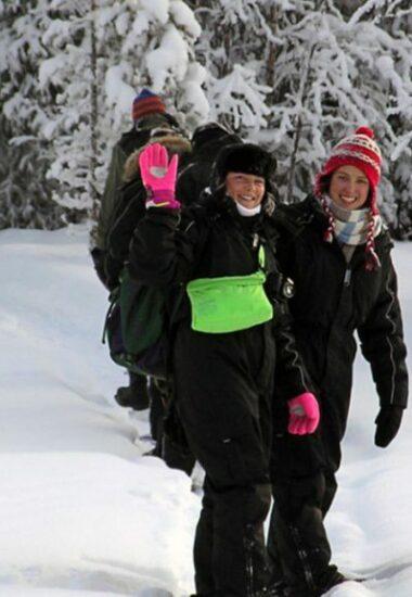 Sneeuwschoenen door het winterse Laplandbos